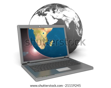3d illustration of laptop displaying the earth