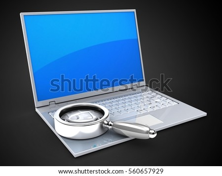 3d illustration of laptop over black background with blue reflection screen and magnify flass