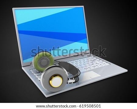 3d illustration of laptop over black background with blue screen and headphones