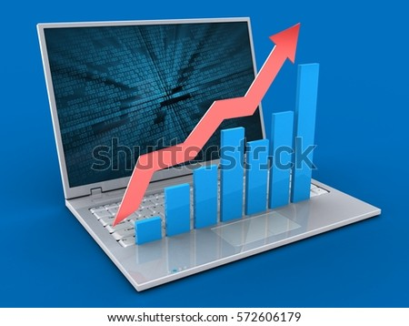 3d illustration of laptop over blue background with binary data screen and rising charts