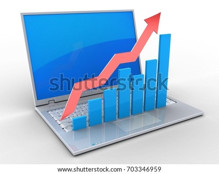3d illustration of laptop over white background with blue reflection screen and rising charts