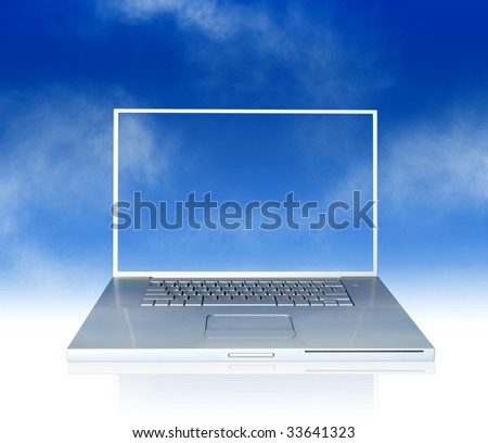 3D illustration of laptop with a blue sky background and sky desktop image