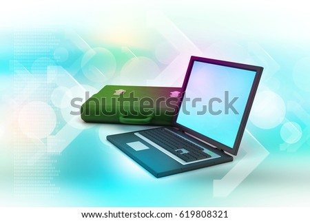 3D illustration of Laptop with bag