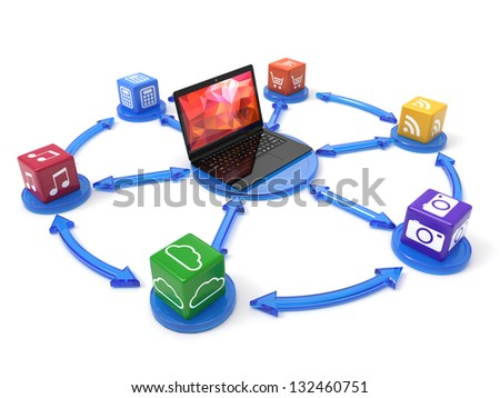 3d illustration of laptop with box software row - stock photo