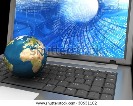3d illustration of laptop with earth globe on keyboard, internet concept