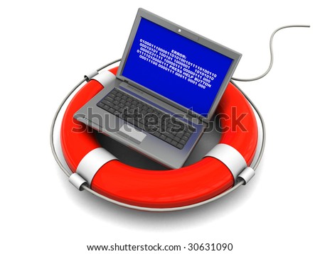 3d illustration of laptop with error screen on rescue circle - stock photo