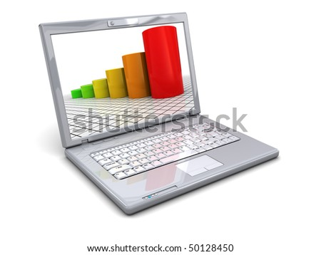 3d illustration of laptop with raising charts on display