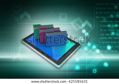 3d illustration of laptops wireless connection with   earth  Tablet PC with file folder