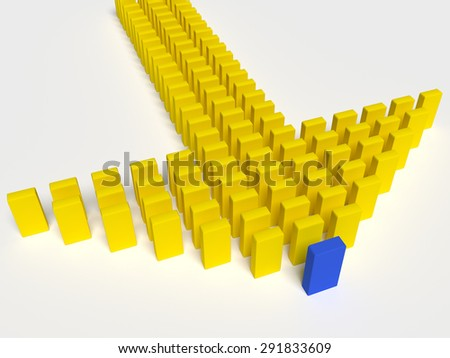 3d illustration of leader leads the team forward - stock photo