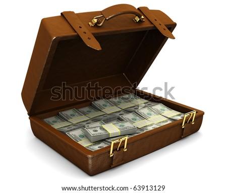 3d illustration of leather case full of money, over white background - stock photo