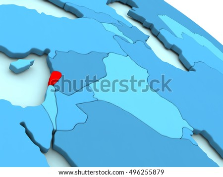 3D illustration of Lebanon highlighted in red color on blue globe