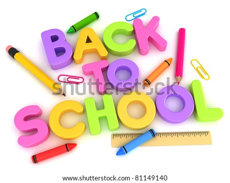 3D Illustration of Letters Forming the Words Back to School - stock photo