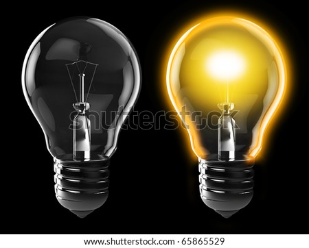 3d illustration of light bulb, power on, and power off, over black background - stock photo