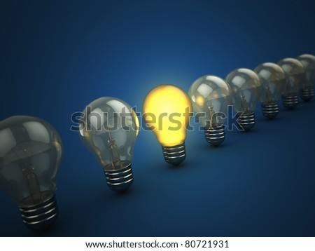 3d illustration of light bulbs with one shining