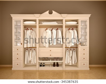 3d illustration of light classic wardrobe closet with clothes an - stock photo