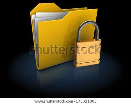 3d illustration of locked folder over black background