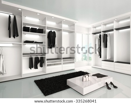 3d illustration of Luxurious white wardrobe in a modern style - stock photo