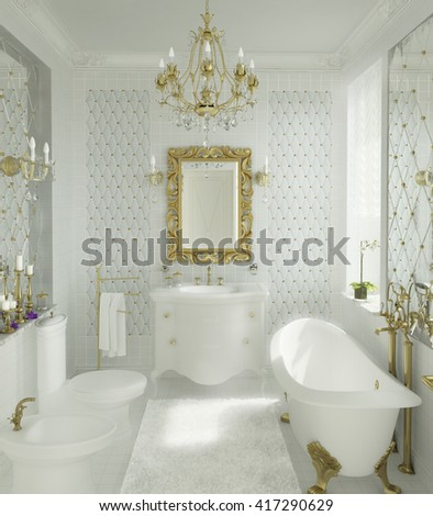 3D illustration of luxury bathroom in white and gold color with mirrors, windows and retro furnishing - stock photo
