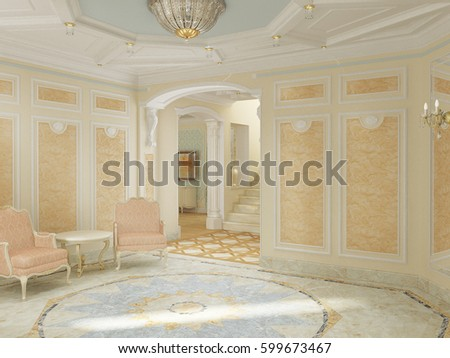 3 D Illustration Luxury Foyer Plaster Ceiling Stock Illustration