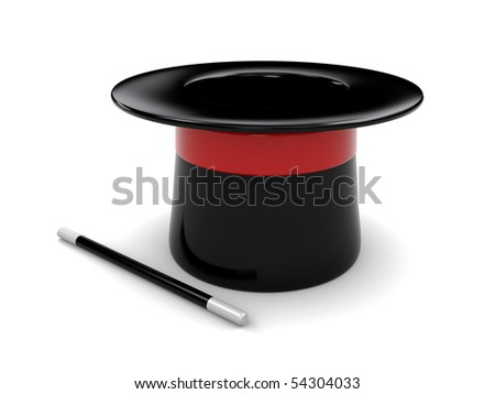 3d illustration of magic hat and stick over white background - stock photo
