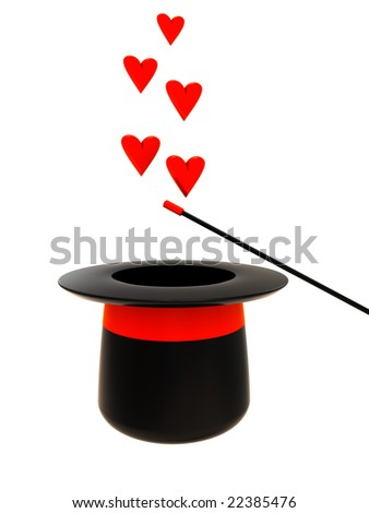 3d illustration of magic hat and wand with heart signs over white