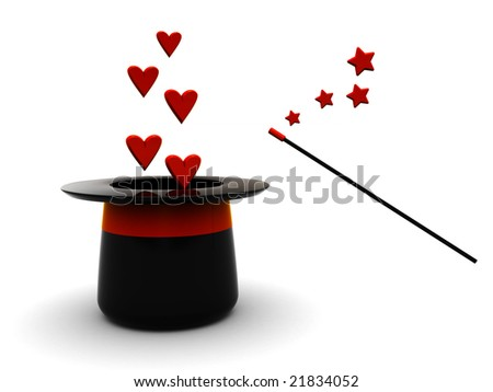 3d illustration of magic hat and wand with stylized hearts over white background
