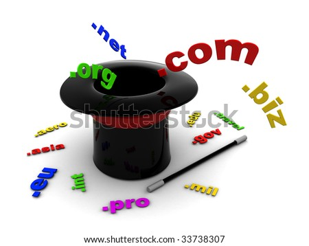 3d illustration of magic hat with domain names signs - stock photo