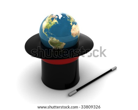 3d illustration of magic hat with earth globe inside