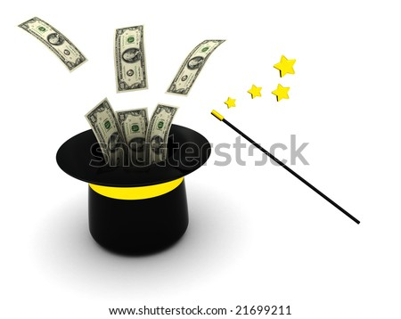 3d illustration of magic wand and hat with money