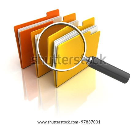 3d illustration of magnify glass and folders over white background - stock photo