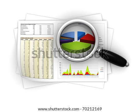 3d illustration of magnify glass on business reports - stock photo