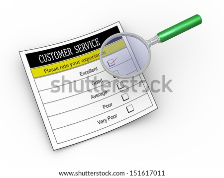 3d illustration of magnifying glass hover over customer service survey form with tick placed in excellent checkbox.