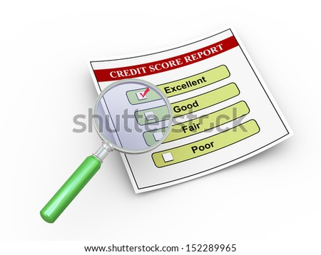 3d illustration of magnifying glass hover over good credit score report. - stock photo