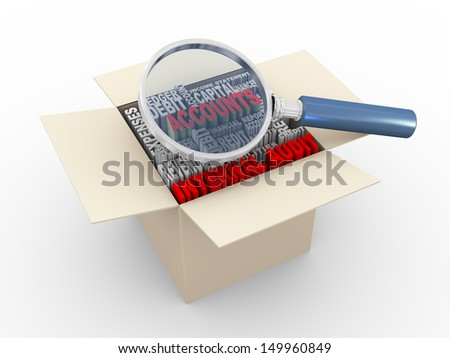 3d illustration of magnifying glass hover over word tags wordcloud of accounts and internal audit in box - stock photo
