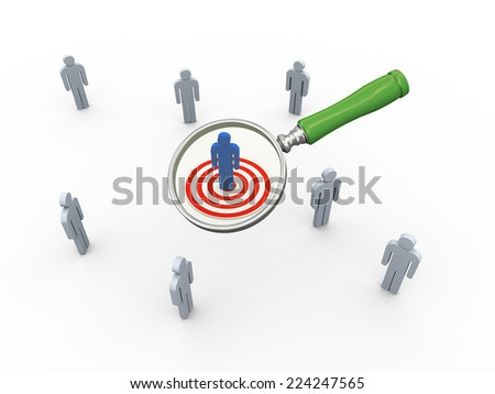 3d illustration of magnifying glass hovers over targeted audience buyer. Concept of searching people, employee, buyers - stock photo