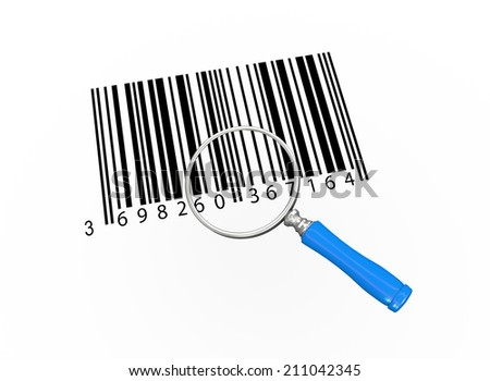 3d illustration of magnifying glass over bar codes - stock photo