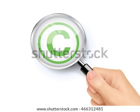 3D illustration of magnifying glass over the copy right icon