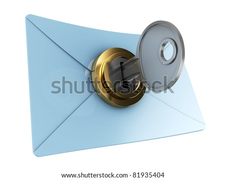 3d illustration of mail envelope with key, encryption concept