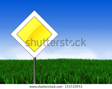 3d illustration of main road sign over meadow background