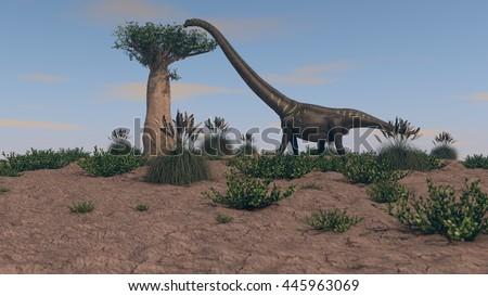 3d illustration of mamenchisaurus walking on grassy terrain - stock photo