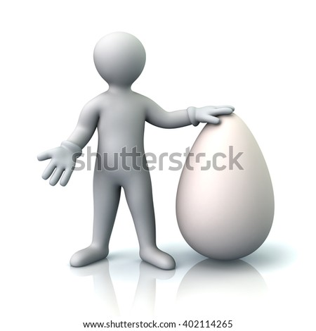 3d illustration of man and big white egg isolated on white background - stock photo
