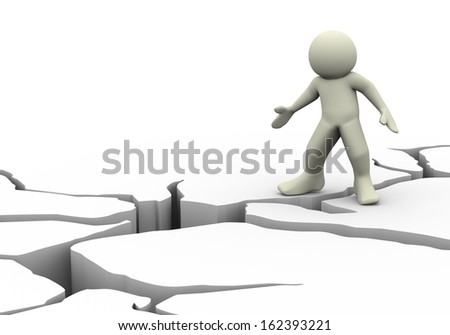 3d illustration of  man and detailed earth ground crack - stock photo