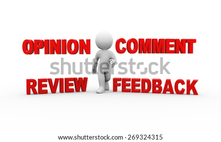 3d illustration of man and word text comment feedback opinion review.  3d rendering of human people character - stock photo