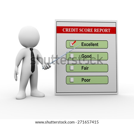 3d illustration of man business person pointing to good credit score report.  3d rendering of man human people character - stock photo