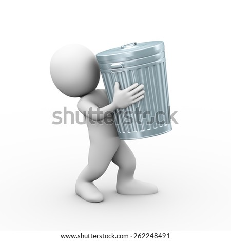 3d illustration of man carrying filled closed shiny metal trash can bin.  3d rendering of human people character - stock photo