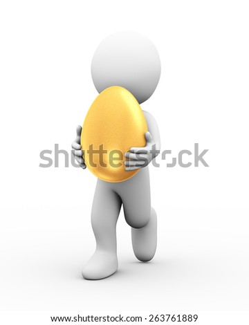 3d illustration of man carrying large shiny golden egg.  3d rendering of human people character - stock photo