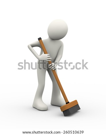 3d illustration of man cleaning with cleaning broom stick brush. 3d human person character and white people - stock photo