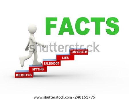 3d illustration of man climbing facts myths word text steps concept. 3d human person character and white people