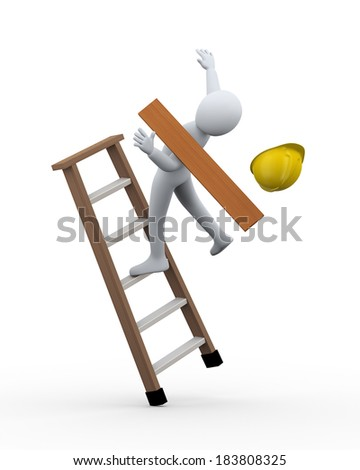 3d illustration of man construction worker disbalance and fall from ladder. 3d rendering of human people character incident - stock photo