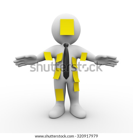 3d illustration of man covered with many yellow sticky notes.  3d rendering of human people character - stock photo